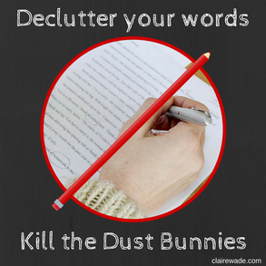 Declutter your words. Kill the Dust Bunnies. www.clairewade.com