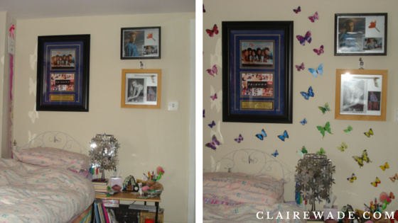 Before and After - Butterfly Wall Art DIY Craft project in under 20 minutes clairewade.com