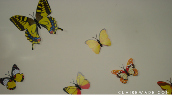 Yellow butterflies - Butterfly Wall Art DIY Craft project in under 20 minutes clairewade.com