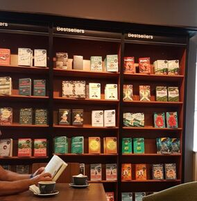 Bestseller book shelf, Waterstones, Cafe W, Claire Wade, Good Housekeeping Novel Competition Winner, The Choice, book launch, author, debut